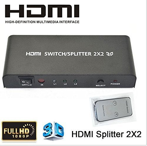 Full HD 1080P 4K2K HDMI V1.4 Switch 2X2 HDMI Switcher Splitter with Remote Control for HDTV DVD PC PS3