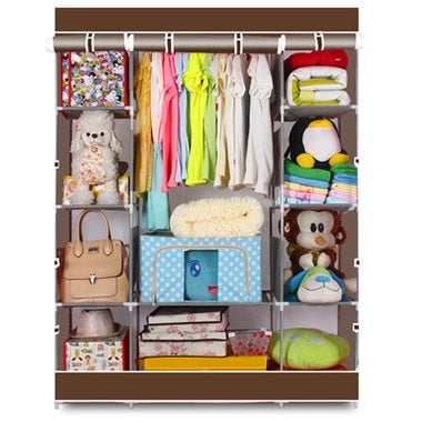 Portable Clothes Closet Wardrobe Home Rack Storage Organizer With Steel Shelves