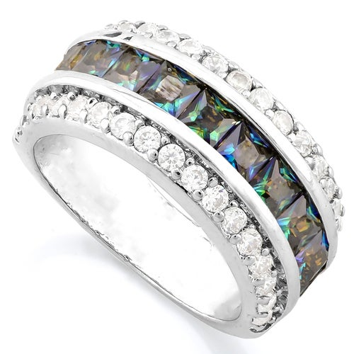 14k White Gold Filled,Simulated Mystic & White Sapphire Ring