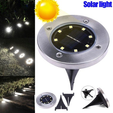 HOT ! 8Leds Solar Powered Light Sense LED Road Lamp Waterproof LED Underground L