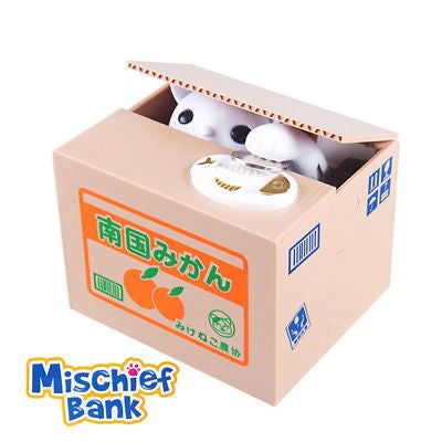 Free shipping Mischief Bank Piggy Bank Cat Automatic Electric Stole Coin Piggy Bank Money Saving Box Gifts For Kids children