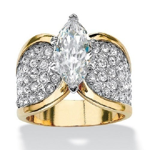 Yellow Gold Plated Classic Design 4.93 ct Marquise Cut Band