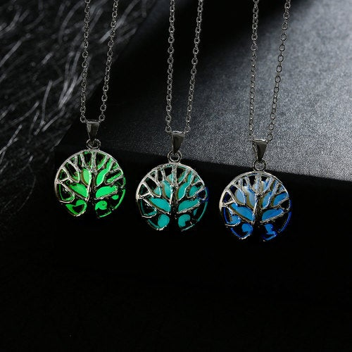 Vintage Hollow Green Forest Luminous Necklace Silver Plated Glow In Dark Fashion Wedding Party Jewelry Gift for Couples