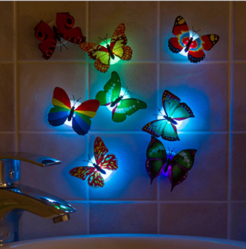 5pcsColorful Luminous Butterfly Night Light Home Party Wedding Decoration Lights Lamp With Sticker
