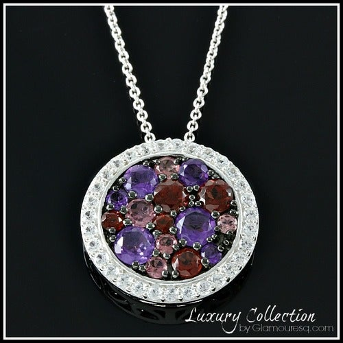 Solid .925 Sterling Silver w/18k White Gold and Genuine Multicolor Stones Necklace Glamss4258