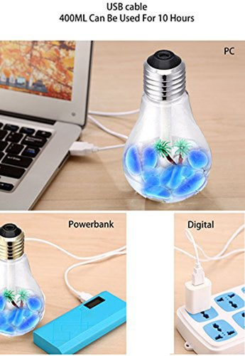 Air Humidifier 400ML USB Bulb Humidifier Portable Desktop LED 7 Color Night Lights Diffuser Mist Office Room for Applicable to Any Place