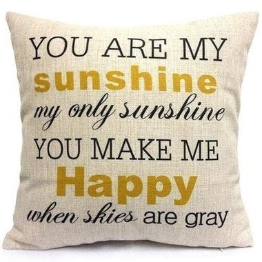 You Are My Sunshine Cotton Linen Pillow Cover