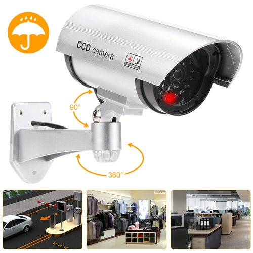 Simulation Gun Bullet CCTV Camera Fake Dummy Rainproof Security System with LED light for Indoor Outdoor Use