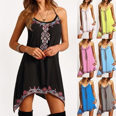 Women Sexy Strap Dress Beach Casual Print Irregular Dress Loose Mini Black Dress