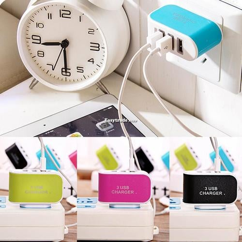 New 3-Port USB Wall Home Travel AC Charger Adapter for Phone EU/US Plug ESY1