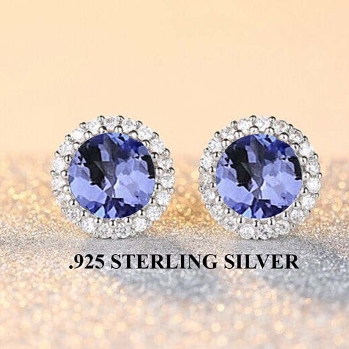 Stunning .925 Sterling Sterling Halo Tanzanite Quartz Earings