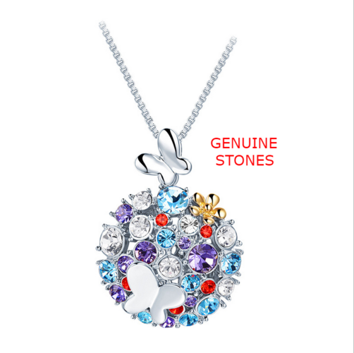 Genuine Stone Cute Butterfly Multi Colored Necklace