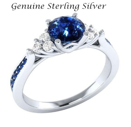 925 Sterling Silver Inlaid with Blue CZ Princess engagement ring