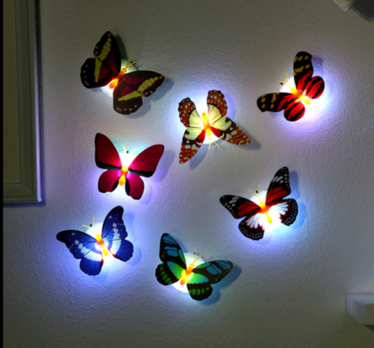 Led Butterflies Wall Decoration changeable colors Night Light Wall Decoration Shinning Stick-On Lamp 3W Fiber Optic Butterfly Christmas Valentine's Day Decration