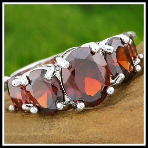 Grade Red Cubic Zirconia CZ, 14k White Gold Filled Ring