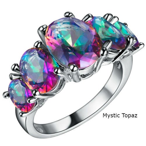 Genuine Mystic Topaz 5 Prong Setting Stone Ring