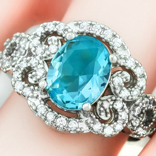 2.22ctw 14k White Gold Filled, Beautifully Created Fine Sky Blue Topaz & White Sapphire Ring