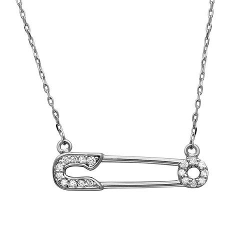 Rhodium Plated CZ Safety Pin Necklace
