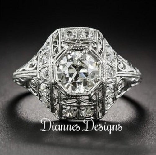 Vintage Inspired 1 Carat Ring 19x17mm By Diannes Designs