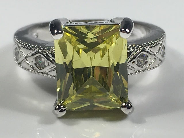 Peridot & White Topaz on Silver Band. Size 7 only please.