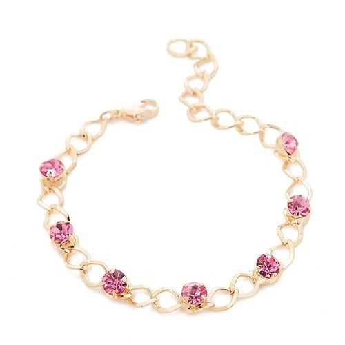 Pink Crystal and Chain Bracelet