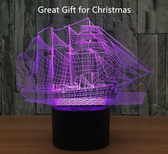 Great Christmas Gift for Your Family and Friends!!! Cool Creative Fashion 3D Sailing Boat ship Night Light Atmosphere Led Table Desk Lamp