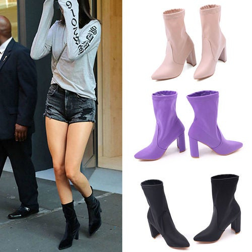 Women Ladies Stretch Satin Pull On High Block Heel Celeb Sock Ankle Boots Party