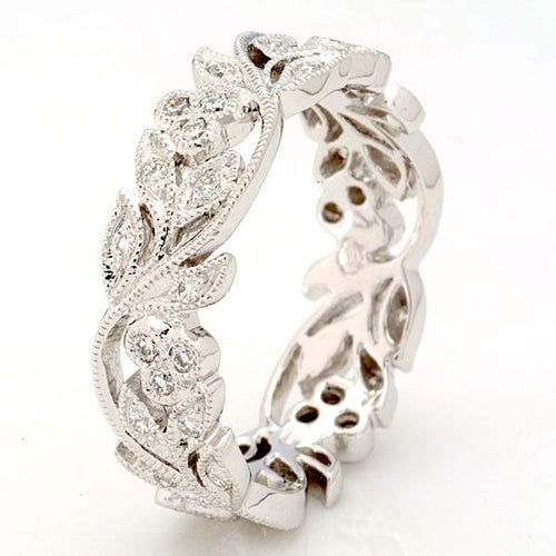 18K White Gold Plated CZ Floral Full Circle Eternity Band #562