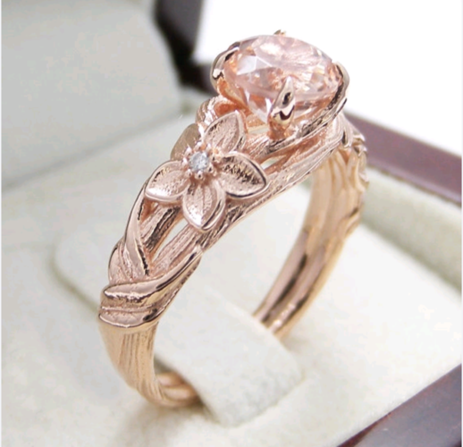 Gorgeous rose gold plated flower champagne stone wedding engagement ring