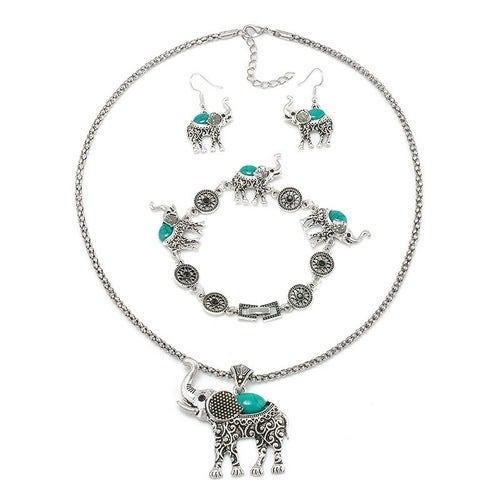 3 Pc Sterling Silver Jewelry Set Sterling Silver with Turquoise Stones