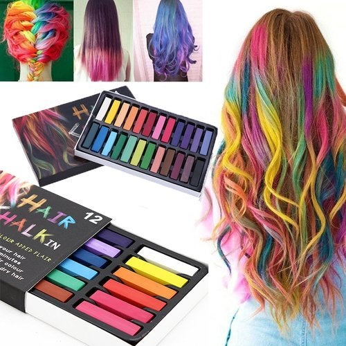 B. 12 Colors Hair Dye Chalk Temporary Instant Hair Color Non-toxic Soft  Pastel Kit