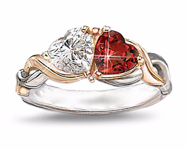 Forever Love Two Hearts Two Tone CZ Ring #TH503
