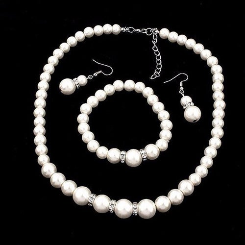 Simulated Pearl Necklace, Bracelet & Earrings With CZ Accents Bridal Jewelry Set