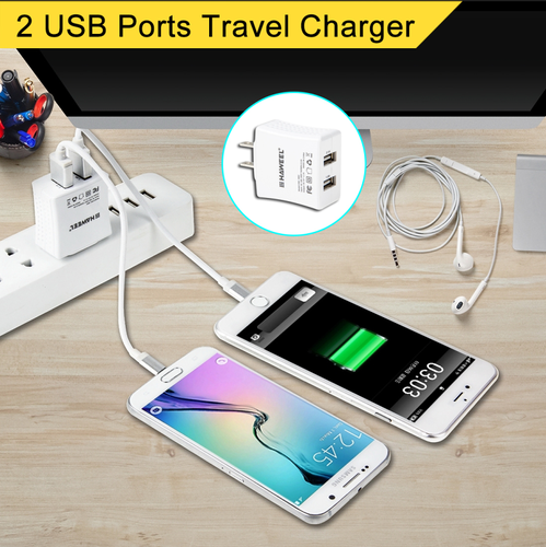 HAWEEL 2 USB Ports Max 3.1A Travel Charger with US Plug for iPhone, Galaxy, Huawei, Xiaomi, LG, HTC and other smart phones