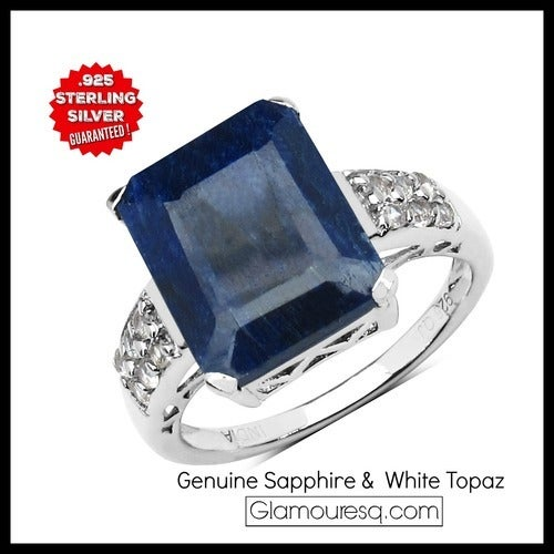 8.05ctw Genuine Sapphire & Genuine White Topaz, .925 Solid Sterling Silver Ring Size: 9 GlamSS0003 Glamouresq.com
