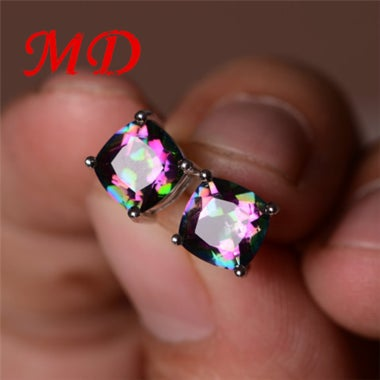 New Fashion Multi-color Silver Plated Opal Earrings