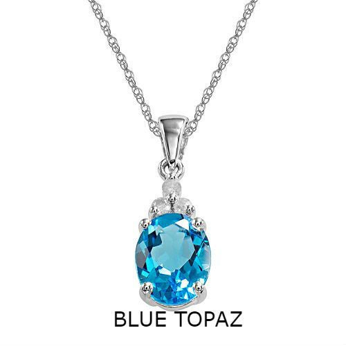 Sterling Silver Diamond Accent Genuine Blue Topaz Stone Necklace
