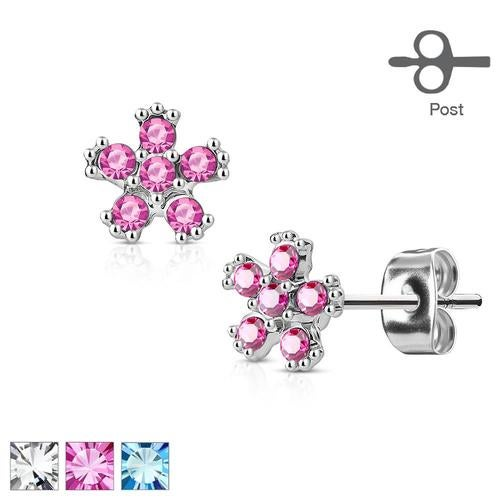 Pair of 6 CZ Flower 316L Surgical Steel Post Earring Studs