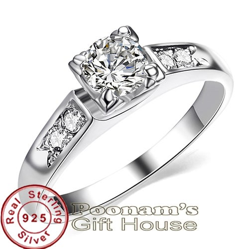 Pure 925 Sterling Silver Ring with Austrian Crystal