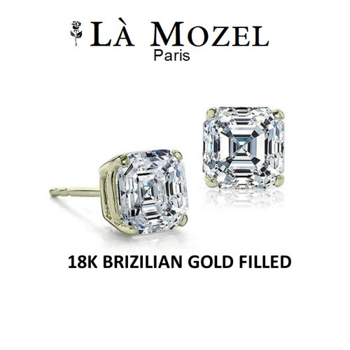 Handcrafted 18k Brazilian Gold Filled 1 Carat CZ Asscher-Cut Stud Earrings
