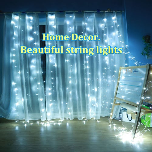 10M 110V 100 LED Waterproof Icicle LED String lights Connectable with Tail Plug Home Outdoor Christmas Decoration Festival Party Fairy Garland LED Strip