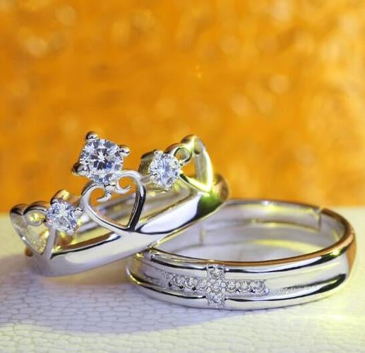 Silver Plated Rhinestones Crown Ring Classic Couple Ring Jewelry