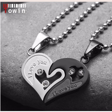 2pc/set Mens Stainless Steel Chain Black Heart Love Necklaces for Couples Korean
