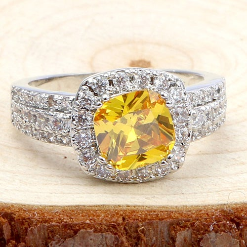 Beautiful Citrine & White Sapphires Sterling Silver 925 Ring