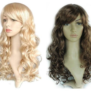 Women Fashion Cosplay Party Hair Halloween Long Curly Full Wigs 15 Colors Anime