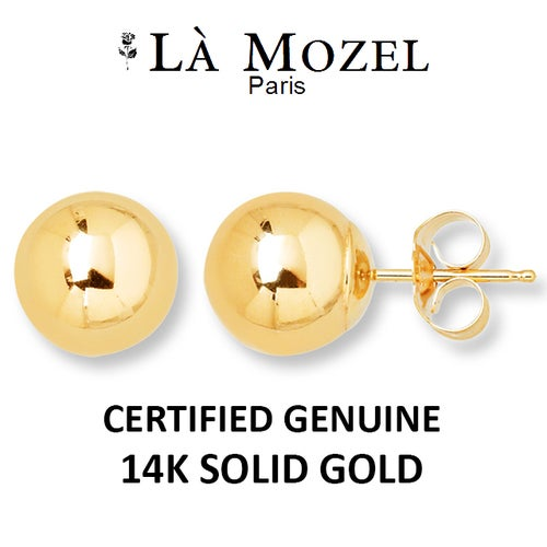 Limited Luxurious Genuine 14K Solid Yellow Gold Ball Earrings - 3MM - Best Selling Jewelry