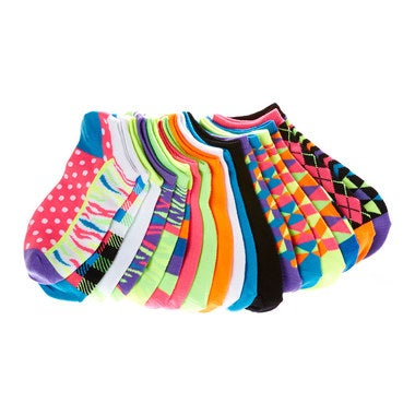 14-Pairs Everlast Women's Bright-Colored No-Show Socks