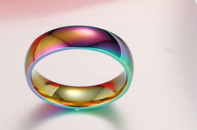 6mm Stainless Steel Comfort Fit Rainbow Oil Ring / Band