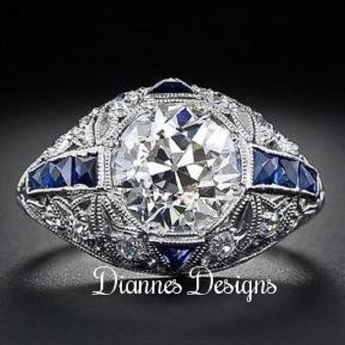 Vintage Inspired Ring Blue Accents 24x15mm By Diannes Designs