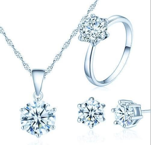 Women White Gold Plated Jewelry Set Necklace Earrings Ring Charm